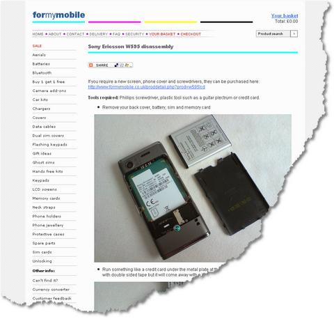Sony Ericsson W595 disassembly 1239482651734