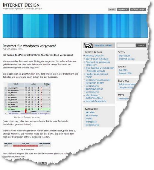Passwort für WordPress vergessen- » Beitrag » Internet Design 1262258343555