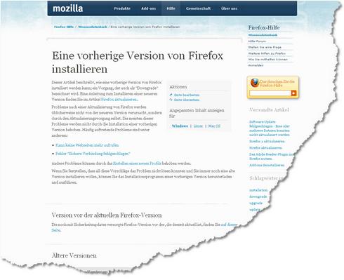 Eine vorherige Version von Firefox installieren 1269351492265