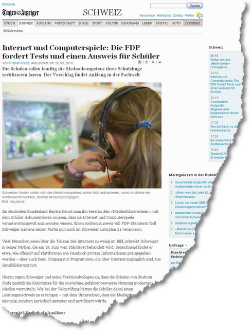Internet und Computerspiele- Die FDP fordert Tests und einen Ausweis für Schüler - Schweiz- Standard - tagesanzeiger