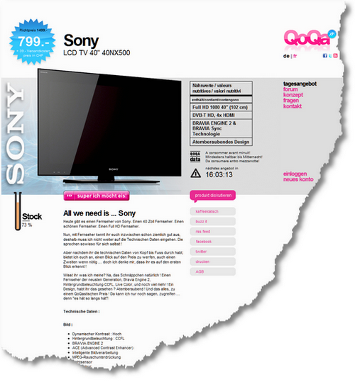 Sony LCD TV 40- 40NX500 - QoQa