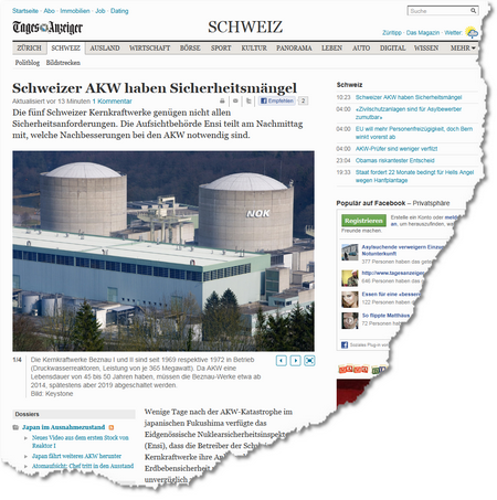 Schweizer AKW haben Sicherheitsmängel - Schweiz- Standard - tagesanzeiger